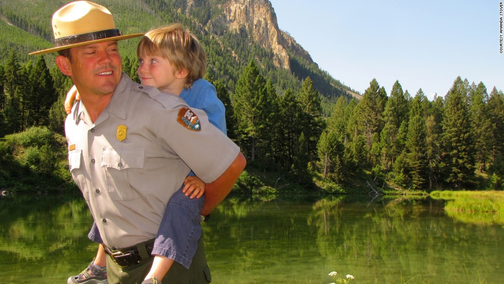 Meet our Yellowstone National Park ranger, Dan Hottle, and his 4-year-old son, Calder, shown here at Joffe Lake near the park's headquarters in Mammoth Hot Springs, Wyoming.