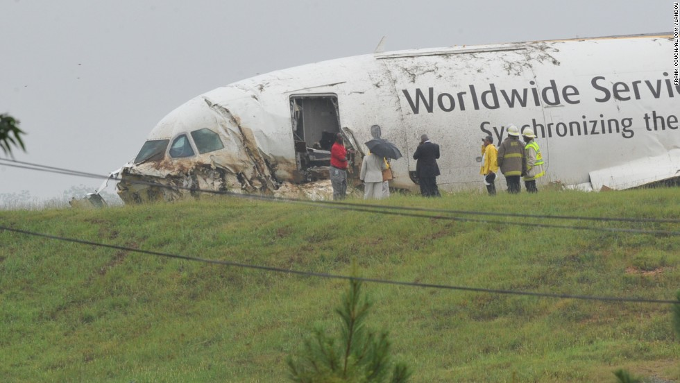 The plane, which took off from Louisville, Kentucky, went down about 4:45 a.m., according to airport officials.