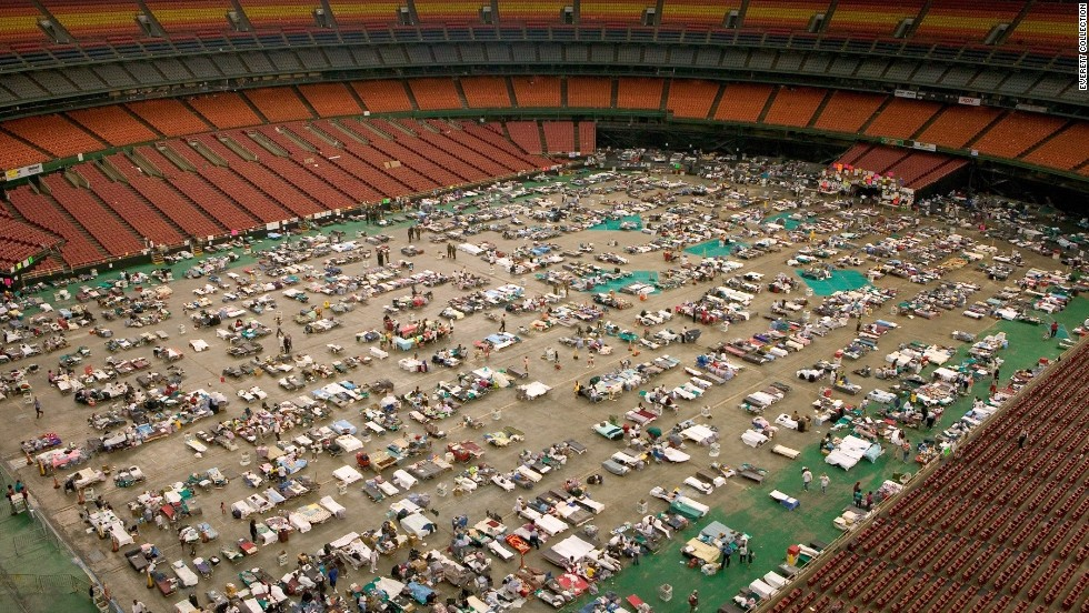 The Astrodome houses thousands of evacuees in September 2005 following Hurricane Katrina.