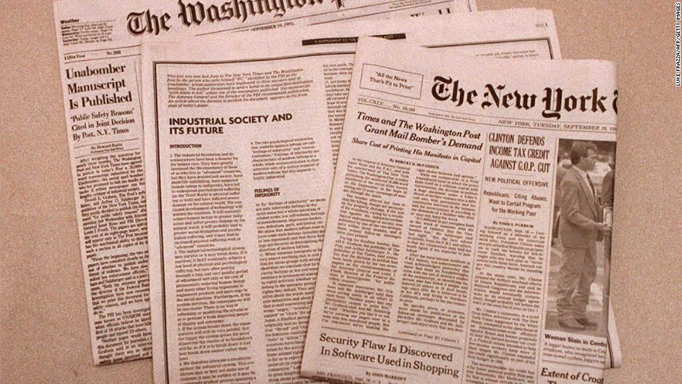 The New York Times and the Washington Post published Kaczynski's entire 35,000 word manifesto on September 19, 1995. The document was published in response to a demand made three months previously by Kaczynski, who threatened to kill one more person if his entire philosophy was not printed.