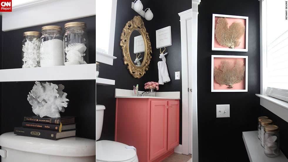"<a href=""http://ireport.cnn.com/docs/DOC-1019727"">Bethany DeVore's</a> dramatic <a href=""http://www.dwellingsbydevore.com"" target=""_blank"">black and coral</a> bathroom."
