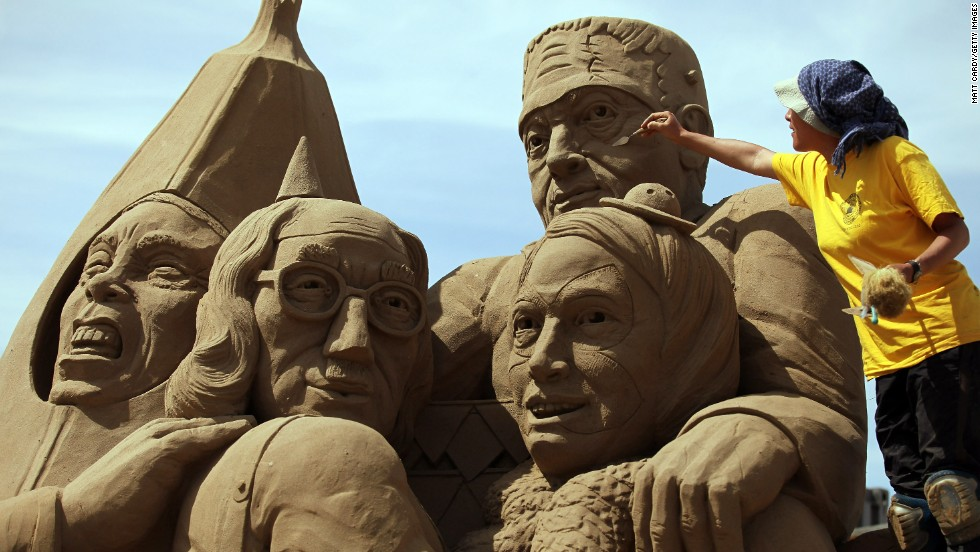 Artists create masterpieces from sand at the annual Weston-super-Mare Sand Sculpture festival in Weston-super-Mare, England.