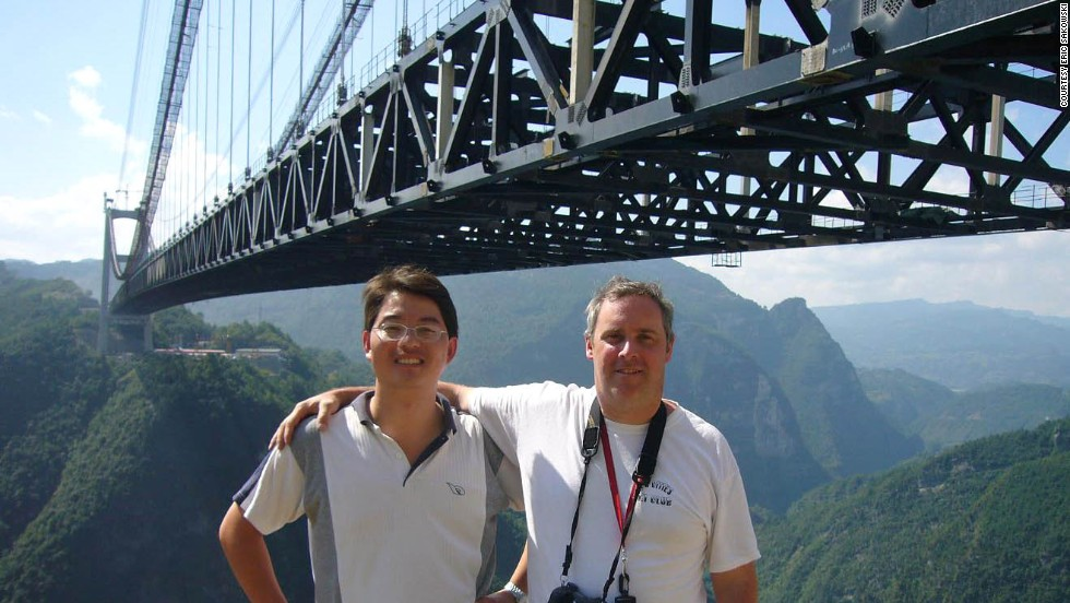 "Eric Sakowski, right, a Los Angeles-based film and video producer, began his bridge obsession as a boy by reading the ""Guinness Book of World Records."" He started tracking lofty bridges on his own, eventually recording his research on<a href=""http://highestbridges.com"" target=""_blank""> his website highestbridges.com</a>. Recently Sakowski has been touring China, along with Chinese bridge engineer Shijie Du."