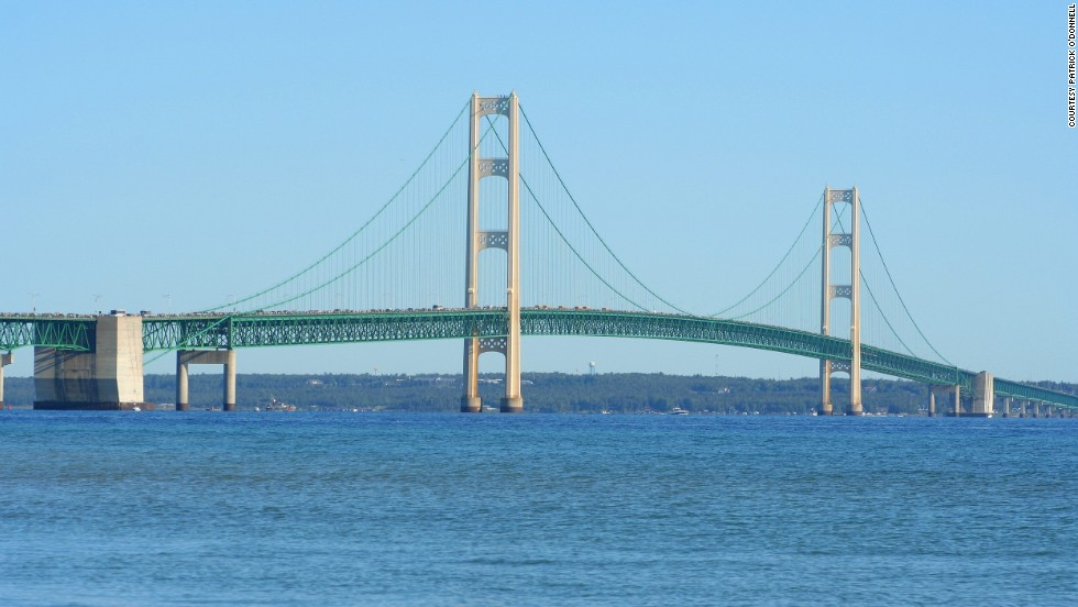"Michigan's Mackinac Bridge, aka Mighty Mac, is ""quite a structure with it's three suspended spans,"" O'Donnell says. The distance from the water to the deck at the bridge's center is about 155 feet, <a href=""http://www.mackinacbridge.org/about-the-bridge-8/"" target=""_blank"">according to the bridge website. </a>"