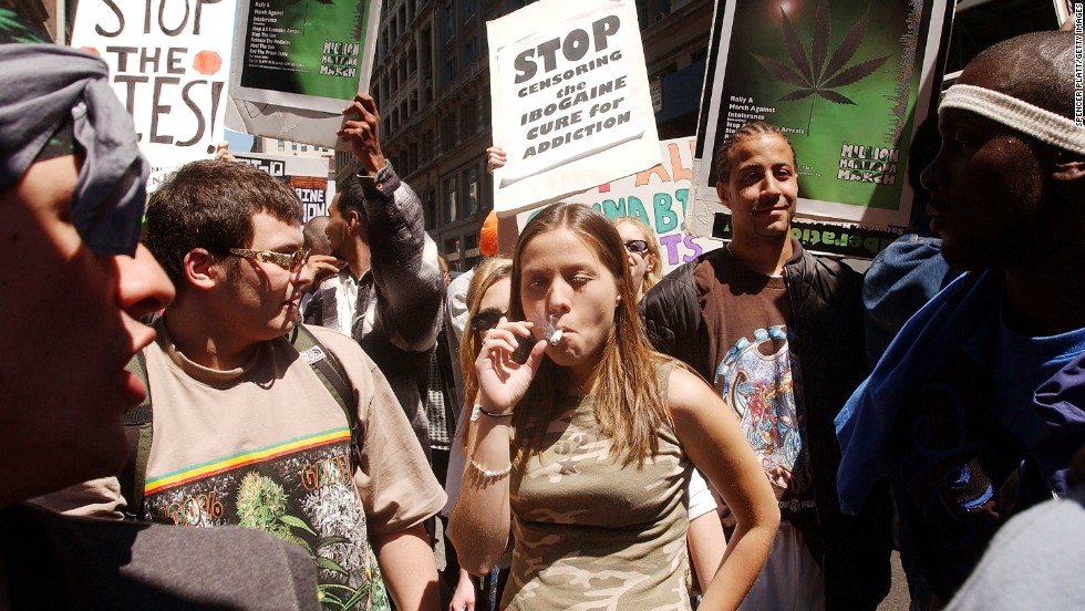 "People in New York gather for a pro-cannabis rally on May 4, 2002. That same day, almost 200 similar events took place around the world to advocate for marijuana legalization. It was dubbed the ""Million Marijuana March."""