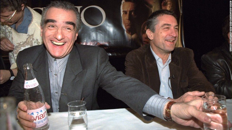 "Scorsese, left, and De Niro have a laugh at a news conference to promote the 1995 movie ""Casino."" The film marked their eighth collaboration."