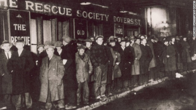 A bread line forms in New York City during the Great Depression in 1929.