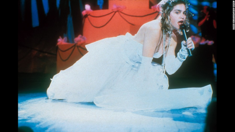 "During the first MTV Video Music Awards in 1984, Madonna set the bar with her performance of ""Like a Virgin"" wearing a low-cut wedding gown."