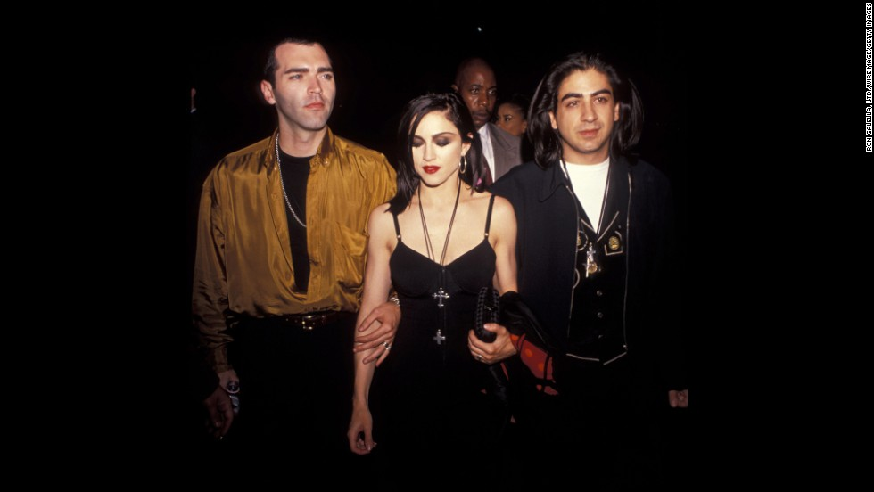 "Younger brother Christopher Ciccone, left, Madonna and director Alek Keshishian attend the ""Truth or Dare"" premiere in Los Angeles on May 6, 1991."