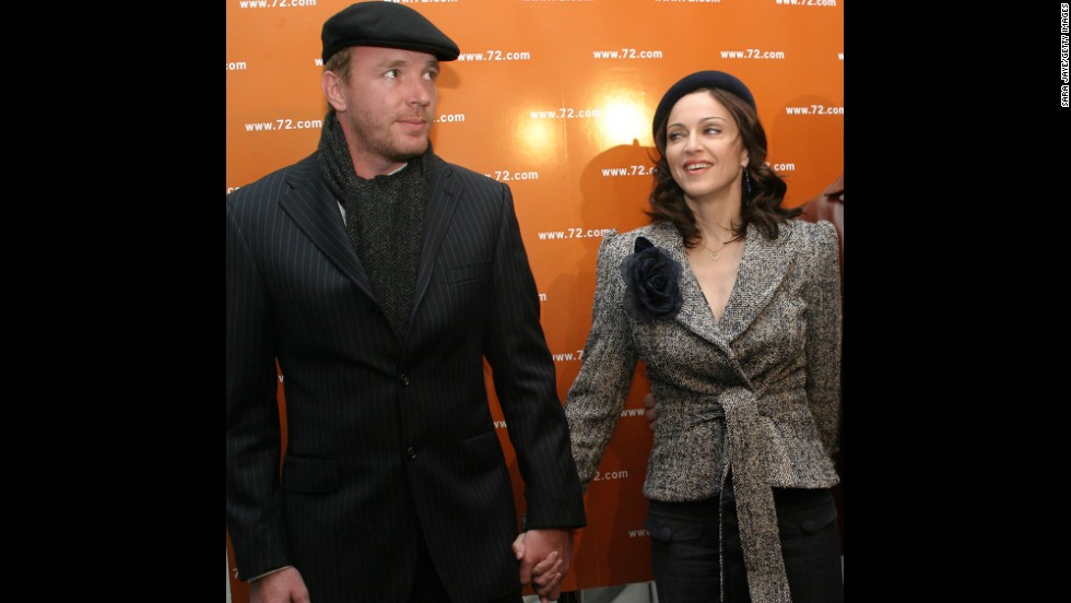 "Then-husband Guy Ritchie and Madonna attend the launch party for ""The 72 Names of God,"" a book by Rabbi Yehuda Berg, the co-director of The Kabbalah Center, at the New Museum for Contemporary Art in New York on April 24, 2003. Madonna's interest in Kabbalah, a mystic branch of Judaism, was widely discussed at this time."