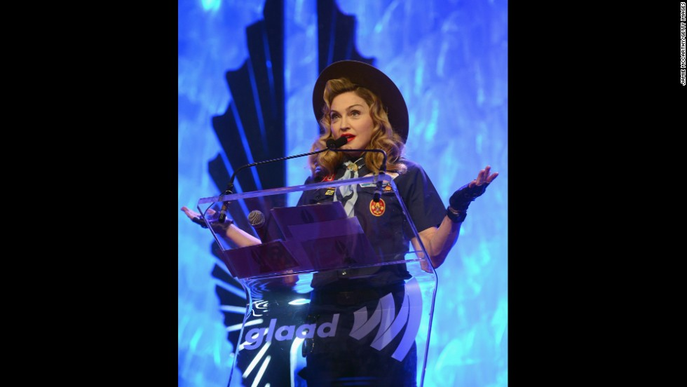 Madonna speaks onstage at the 24th Annual GLAAD Media Awards in New York on March 16, 2013.
