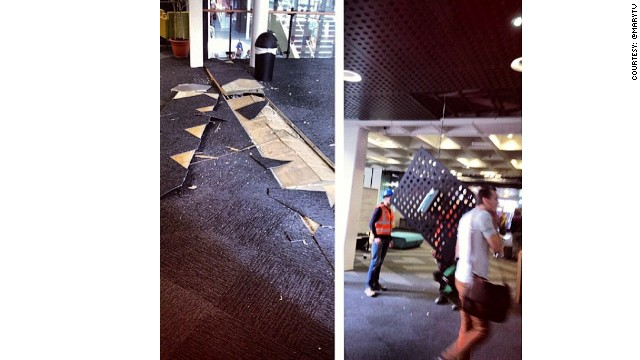 Earthquake damage outside Pencarrow House, Wellington, August 16, 2013. Instagram image courtesy @MaryTV