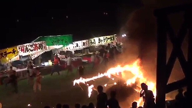 Fire at a fireworks festival in Japan
