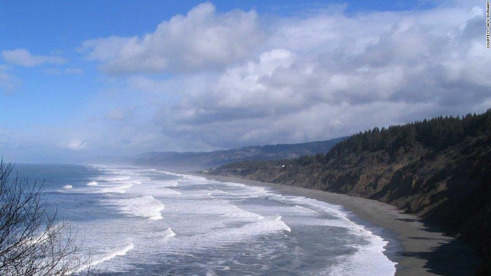 Ancient redwood trees guard the beach at Black Sands in Humboldt County.