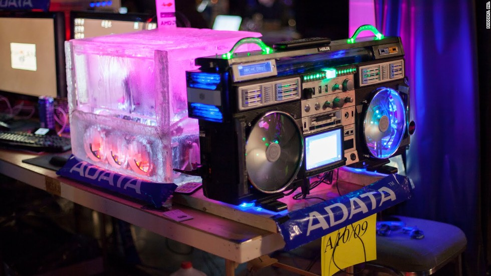 """Speaking of keeping cool, this ice block (made from plastic and chilled water) provides a nice visual representation of """"cool,"""" as does an old-school boom box ready to provide a gamer's soundtrack."""