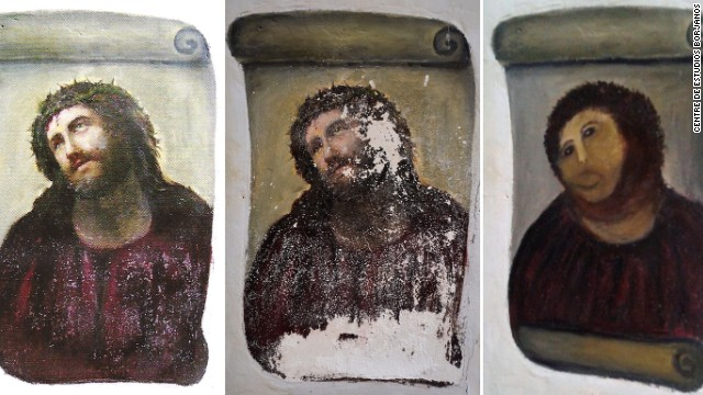 "The original ""Ecce Homo"" (L), the deteriorated version (C) and Cecilia Gimenez's  restored version."