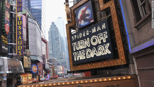 "Foxwoods Theatre' marquee of ""Spider-Man Turn Off The Dark"" in 2012 in New York City."