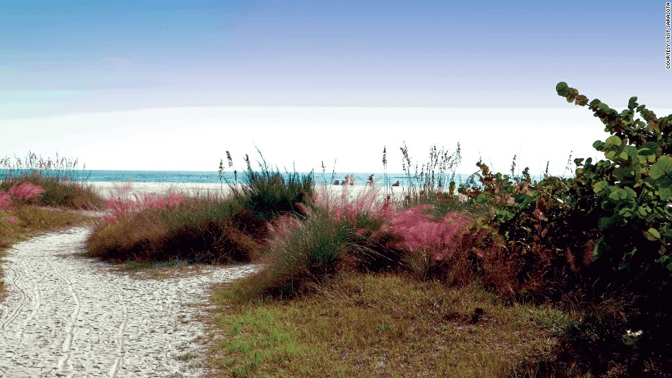 The beaches on the Siesta Key portion of Florida's Gulf Coast are known for their immaculate white sand.