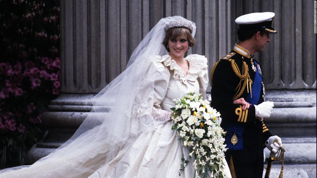 Diana and Charles were wed on July 29, 1981. The princess, clad in an Emanuel wedding dress, leaves St. Paul's Cathedral with her husband.