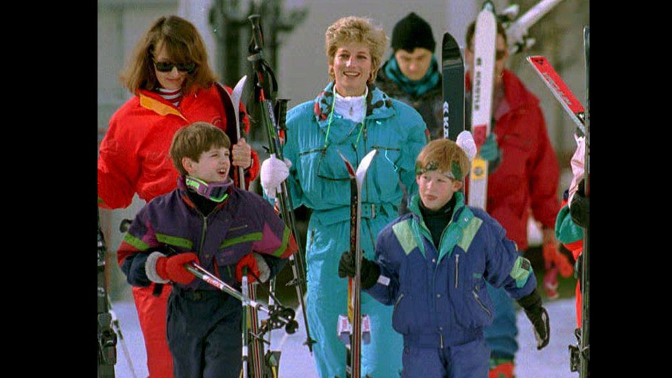 Princess Diana and Prince Harry are accompanied by family friend Catherine Soames and her son, Harry, during a skiing trip in Lech, Austria, on March 24, 1994.