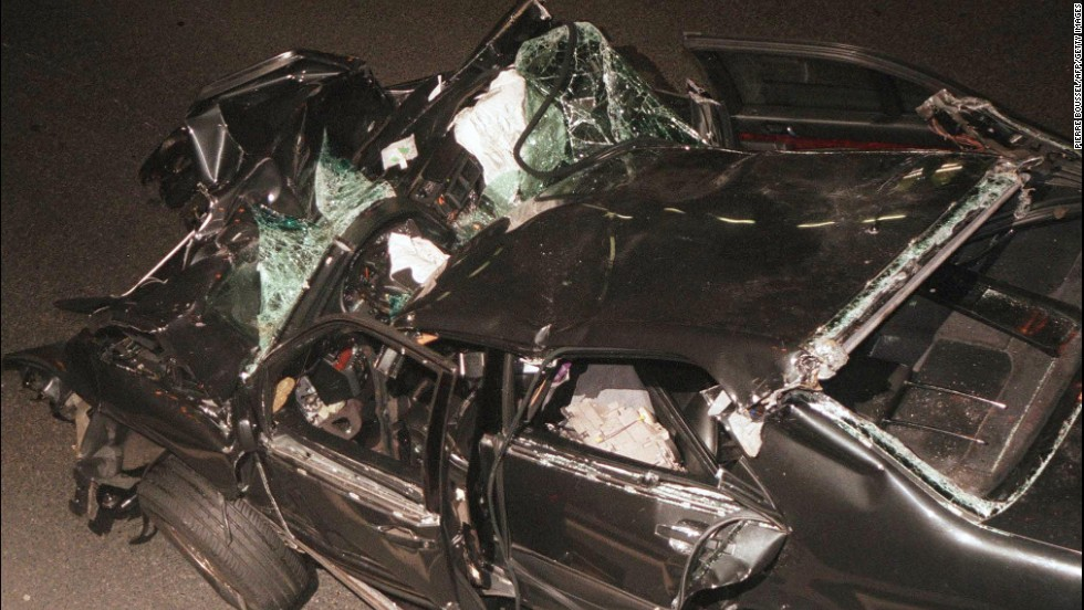 The wreckage of the car Princess Diana and Dodi al-Fayed were riding in when they crashed.