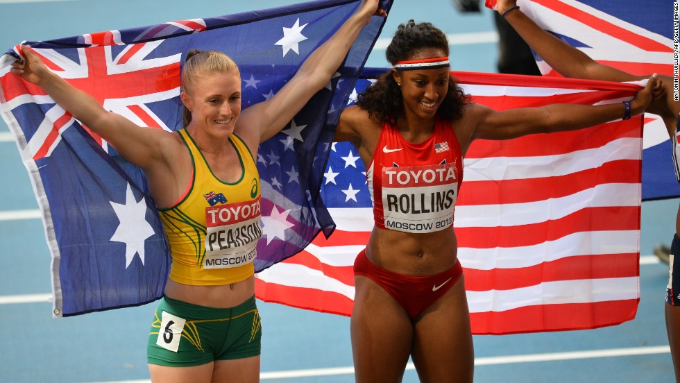 Brianna Rollins recovered from a poor start to take gold in 12.44 seconds ahead of 2011 world champion Sally Pearson.