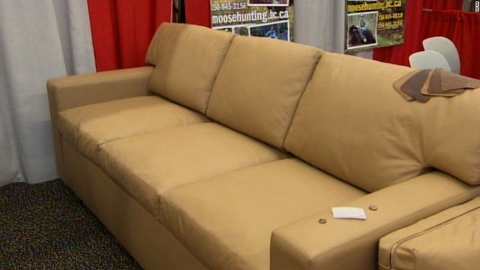 "Charles Alan, a furniture maker based in Fort Worth, Texas, showed off a new couch with a hidden gun safe inside and bulletproof cushions at a gun show. ""If there's a home invasion, you can take one of the cushions and hand it to one of your children or your spouse to protect them,""<a href=""http://www.wfaa.com/news/business/Bulletproof-couch-on-display-at-Fort-Worth-hunting-show-220003231.html"" target=""_blank""> Charles Alan's Brian Poitevent told CNN affiliate WFAA</a>. ""We make them with arm straps, so you can hold the cushion with one hand and fire with the other hand."""