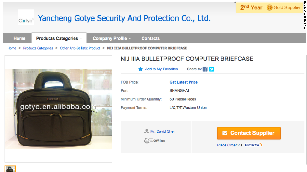 Another protection for the businessman: the bulletproof computer briefcase. This model from Yancheng Gotye in China comes in black and red.