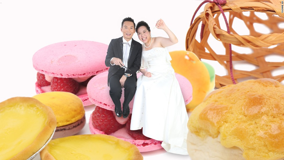 Warning: These are not your average engagement photos. These creative Hong Kong couples sought to portray something distinctive about their personalities, passions, or love stories in their shoots. Here, food-loving couple Daniel Chan and Kim Lee are superimposed on macaroons and Hong Kong pastry favorites -- egg tarts and pineapple buns.