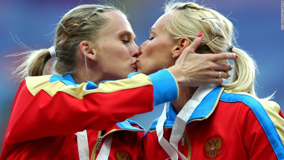 "AUGUST 19 - MOSCOW, RUSSIA: Gold medalists Tatyana Firova and Kseniya Ryzhova of Russia kiss on the podium during a medal ceremony at the <a href=""http://cnn.com/2013/08/18/sport/athletics-bolt-jamaica-gold/index.html?hpt=isp_c2"">World Athletics Championships</a> on August 17. Russia's anti-gay propaganda law sparked<a href=""http://cnn.com/2013/08/01/world/europe/russia-gay-rights-controversy""> international protests</a> during the championship, with some calling for the boycott of next year's Winter Olympics in Sochi, Russia."