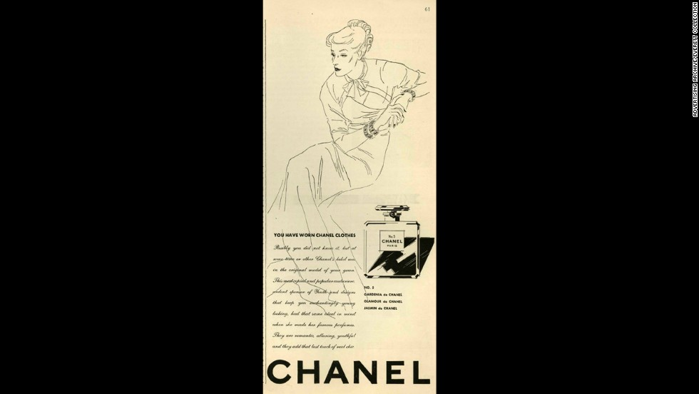 "A Chanel No. 5 ad from the 1930s encourages fans of Chanel's designs to try her perfume to ""add that last touch of real chic."""