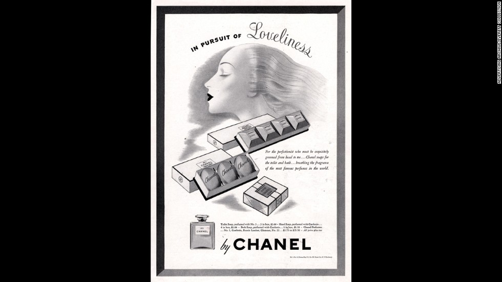 "An ad for Chanel No. 5 soaps from the 1940s targets ""the perfectionist who must be exquisitely groomed from head to toe."""