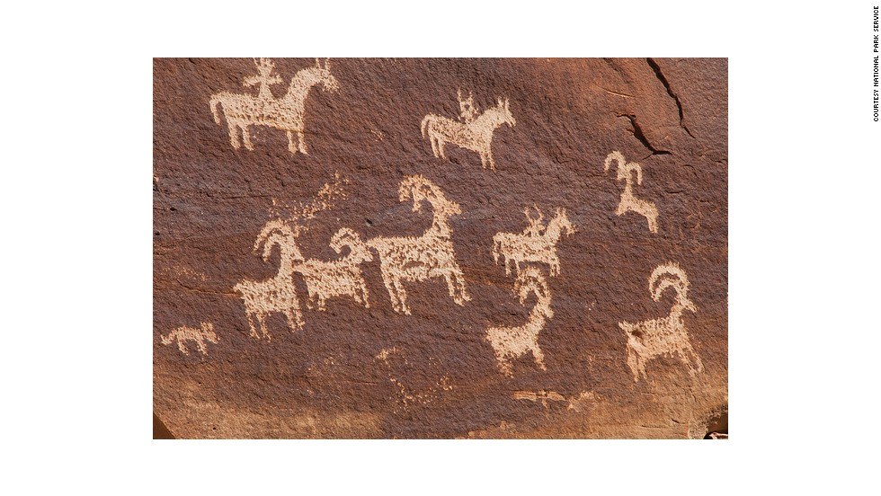 The Wolfe Ranch trail contains ample rock art. Humans began migrating to Arches about 10,000 years ago.