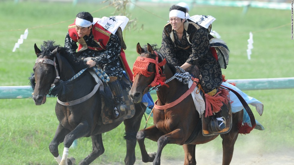 The elaborately attired warriors continue at Soma-Nomaoi festival in Japan, where samurai horsemen go head-to-head in three days of competitions.