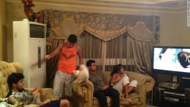 Mayar Adly's brother Seif, left, hangs out with cousins Nour, Omar and Hanna Hassan at the Adlys' Cairo apartment.
