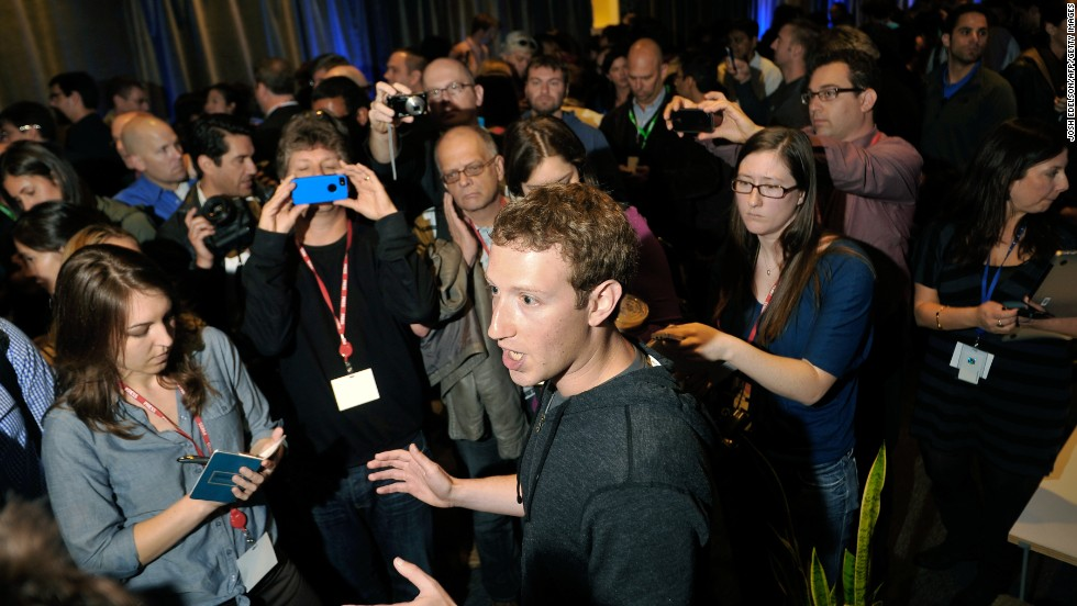 Zuckerberg, in his trademark hoodie, spoke to reporters during an April media event at Facebook's headquarters. The occasion: The launch of Facebook Home, a family of apps for Android that places Facebook activity front and center on mobile devices.
