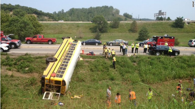 At least  29 riders were injured when a school bus carrying 6th grade girls from Pembroke Hill lost control and turned on its side in Kansas.