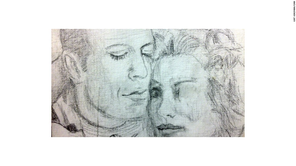 "For reasons now obscure to her, a pencil drawing of Bruce Willis and Cybill Shepherd's characters from the TV show ""Moonlighting"" seemed in order."