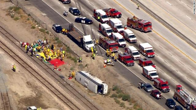 Bus overturned on California highway