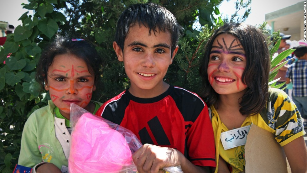 Mustafa celebrates Eid with his new friends at a party for Syrian refugees and Lebanese host community members. Mercy Corps' youth programs offer opportunities for Lebanese and Syrian refugee children to interact, and build friendships and understanding. Mercy Corps says that for Mustafa and many refugee children, it is the first chance they have had to integrate into their new community.