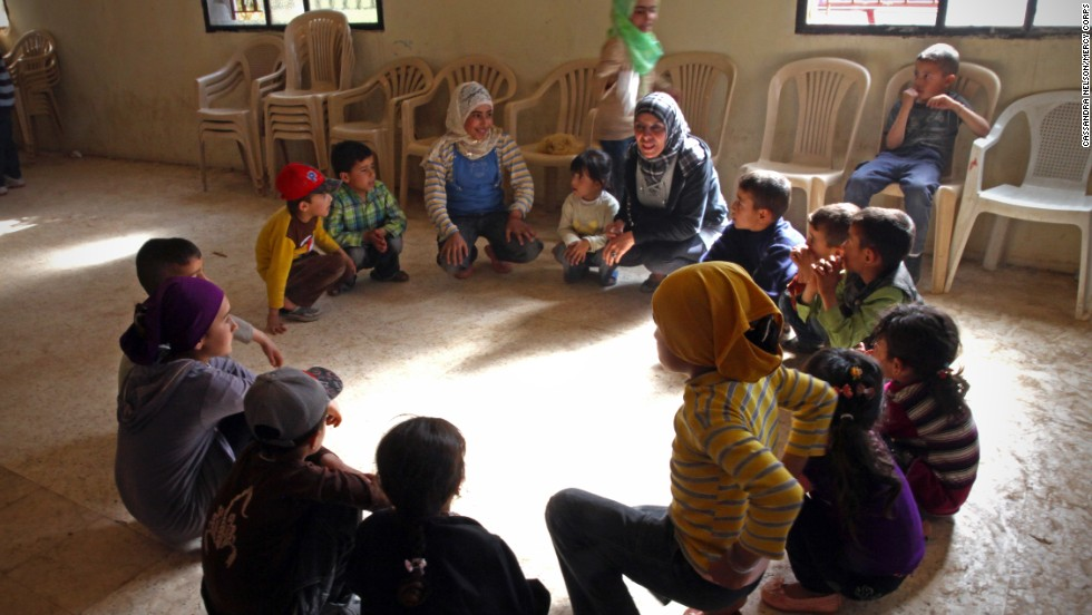 "Syrian refugee children participate in Mercy Corps' ""Comfort for Kids"" program. The activities are designed to provide support to children who have experienced and continue to experience extreme stress due to the conflict."