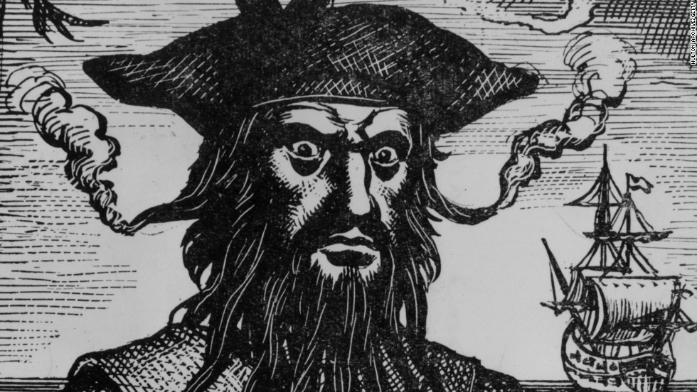 "There are no actual photos of Blackbeard, but there IS this scary artist rendition. And those eyes say, ""Give me just ... one ... tater tot."""