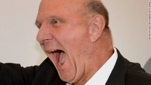FILE PHOTO: Steve Ballmer, chief executive officer of Microsoft Corp., speaks during the grand opening of a company store in Troy, Michigan, U.S., on, Friday, June 28, 2013. Ballmer will retire within the next 12 months after more than a decade leading the worlds largest software maker, Microsoft said Aug. 23. Photographer: Bryan Mitchell/Bloomberg via Getty Images