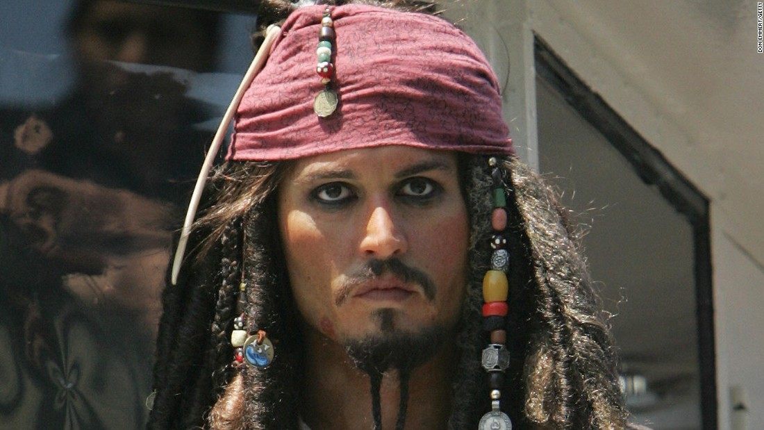 "This is actually a wax statue of Johnny Depp portraying Captain Jack Sparrow from Disney's ""Pirates of the Caribbean,"" but you get the point."