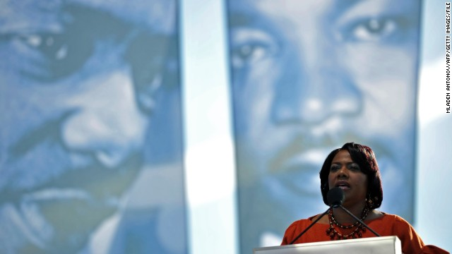 Bernice King speaks at the 2011 dedication ceremony for the Martin Luther King Jr. Memorial in Washington.