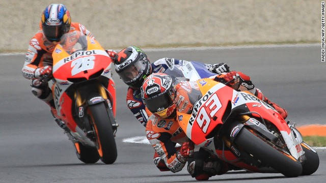 Honda rider Marc Marquez leads from Yamaha's Jorge Lorenzo at the Czech  Grand Prix in Brno.