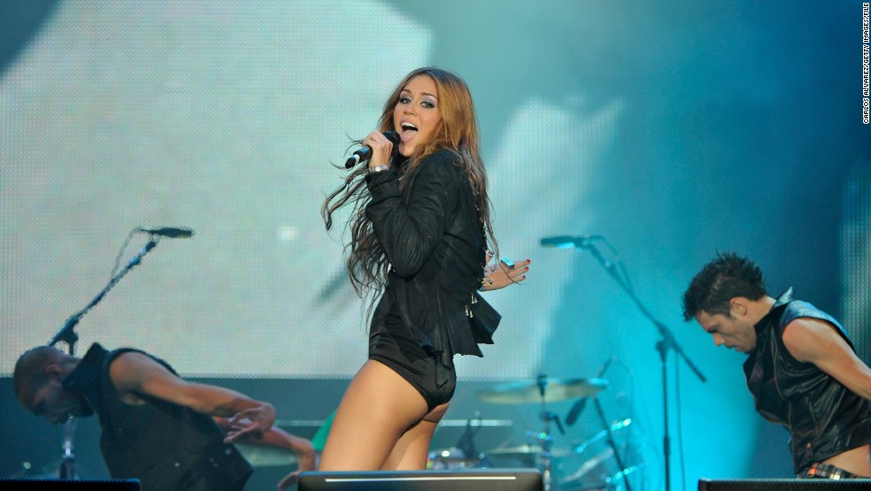 Cyrus performs at a music festival in June 2010 in Arganda del Rey, Spain.