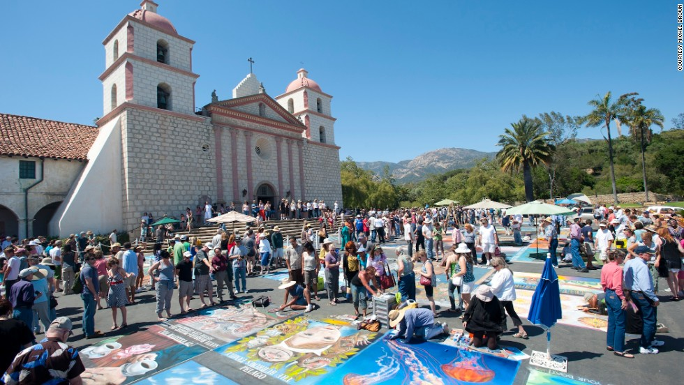 The mission plaza in Santa Barbara, California, is home to the festival that started in 1987.