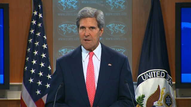 John Kerry makes a statement on Syria in the State Department briefing room on Monday, August 26.