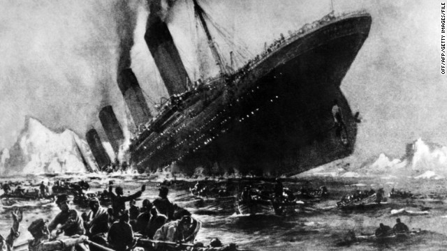 Undated artist impression showing the 14 April 1912 shipwreck of the British luxury passenger liner Titanic off the Nova-Scotia coasts, during its maiden voyage. The supposedly 'Unsinkable' Titanic set sail down Southampton Water en-route to New York on 10 April 1912 and met disaster on 14 April 1912 after hitting an iceberg off Newfoundland shortly before midnight and sinking two hours later, killing about 1,500 passengers and ship personnel. (Photo credit: OFF/AFP/Getty Images)